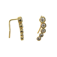 Pendientes de moda chapados en oro con circonita cúbica