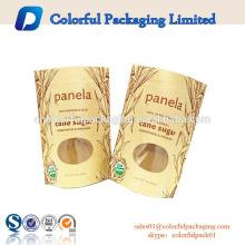 kraft brown food grade standing pouch snack dried food packaging zip paper
