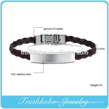 Silk weaving leather bracelet high quality genuine PU leather wristband knot DIY ID Leather bracelet