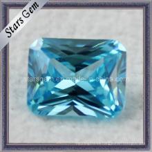 Princesa Corte Octagon Aqua Azul CZ Piedra preciosa para la joyería