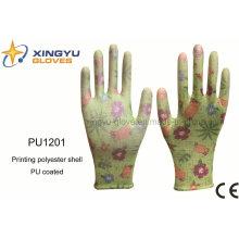 Impresión de poliéster Shell PU guante de trabajo de seguridad recubierto (PU1201)