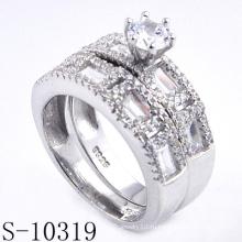 Модное Micro Pave 925 Серебряное кольцо с цирконием (S-10319)