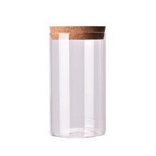 High borosilicate glass airtight biscuit jar with cork stopper