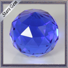 Round Single Point Blue Color Facets Face K9 Glass Ball Beads for Crafts