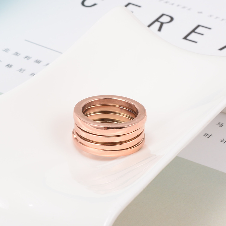 Rose Gold Three Round Spring Rings For Women
