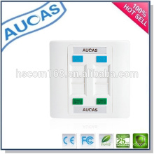 cat5e cat6 network rj45 4 port faceplate /china factory price uk us faceplate /systimax single dual port wall plate