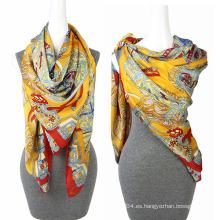 Moda de impresión de gasa 100 de seda de raso cuadrado bufanda cuadrada bufanda