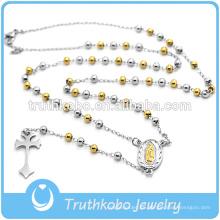 Collar religioso plateado oro del rosario del acero inoxidable de la moda de la joyería 2016 de China con las gotas grandes