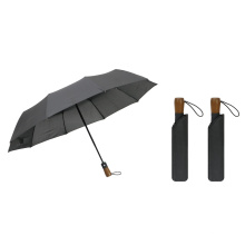 3 Fold Automatic Windproof Umbrella with Wooden Handle