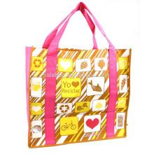 silkscreen print non woven foldable shopping bags
