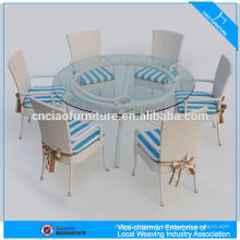 Restaurant meubles de jardin en osier rond rotin ensemble de salle à manger