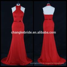 Elegante vestido de fiesta de satén de sirena de lentejuelas rojas rebordeado vestido de fiesta largo