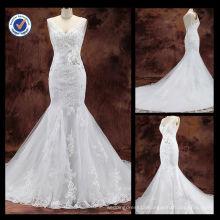 New Arrival Wholesale 2013Elegant Sexy Sheath Appliqued V-Neck Mermaid With Chapel Train Bridal Wedding Dress WA00095