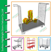 Warehouse metal platform trolley for cargo transportation