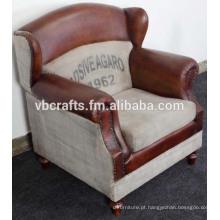 Sofá de lona de couro design europeu
