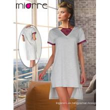 Miorre OEM nueva temporada elegante encaje bordados detallado peinado camisón mujeres de algodón
