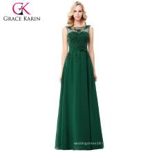 Grace Karin Sleeveless V-Back Dark Green Chiffon Prom Dress CL007555-8