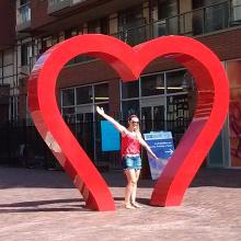 Esculturas de corações vermelhos inoxidável grande venda quente ao ar livre para jardim