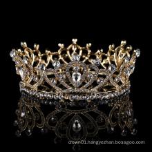Wholesale Baroque headpiece Luxury sale wedding hair jewelry full round Pageant Bride tiara Golden rhinestone luxury crown