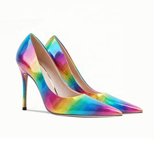 2020 New arrivals C206 high heel stiletto Heels party shoes custom rainbow shiny leather heels sexy pump shoe dress shoes