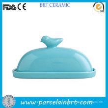 Bird on Lid Decorative Ceramic Butter Dish