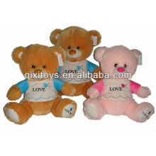 25cm best-selling stuffed valentine bear in light brown Clad plush toys teddy bear with LOGO embroideried