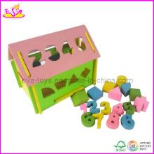 Maison en bois de blocs de nombre de mini (W11H007)