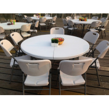 5ft HDPE Plastic Folding Half Moon Table for Dinner, Banquet, Wedding