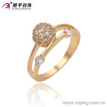 13534 moda feminina elegante zircão banhado a ouro 18k imitação de jóias anel de dedo em liga de cobre