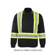 T-shirt à sécurité réfléchissante à haute visibilité 100% polyester et Birdeye Mesh