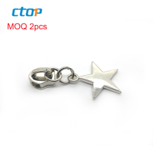 Fashion star shape zip pull, nickel metal zipper slider with puller for handbag