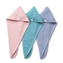 Custom brand logo Waffle Hair Dryer Turban Towel Wrap  Headwrap for women