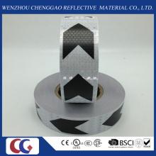 Fita reflexiva de PVC seta preto e branco com treliça de cristal