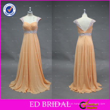 ED Bridal Elegant A-line Sweetheart Beaded Sash Cap Sleeve V Voltar Long Chiffon Prom Dresses