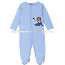 2017 roupas de bebê por atacado romper 100% algodão manga longa cor azul macaco personalizar o bebê romper