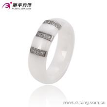 Fashion Women Elegant Round Stainless Steel Jewelry Ceramic Finger Ring -13744