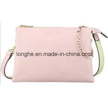 Designer Contrast Color 3-Pocket Fashion Crossbody Bag (LY0195)