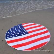 Printed Amercian Flag Round Beach Towel