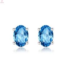 Women 925 Sterling Silver Blue Stone Stud Earrings