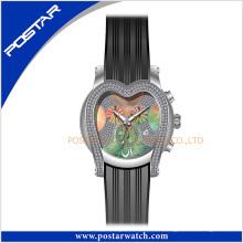 En forma de corazón de acero inoxidable de alta calidad joyería reloj banda de silicona