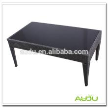 Poly Rattan mesa de comedor, negro de cristal Poly Rattan hecho a mano mesa de comedor