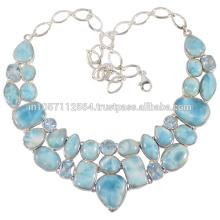 Gorgeouse Blue Topaz & Larimar Gemstone com 925 Prata Jóias feitas à mão
