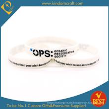 Benutzerdefinierte Werbe White Printed Silikon-Armband, Rubberred Armbänder (LN-02)