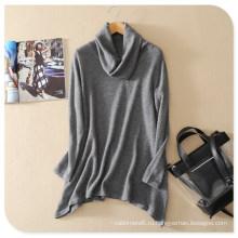 Новый дизайн свитер водолазка с длинными рукавами пуловеры чистый кашемир свитер с Нерегулярной Хем на весну