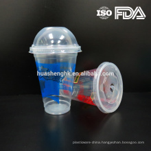 High Quality Food Grade Clear Plastic Disposable 12oz/360ml smoothie cups with lids for wholesale