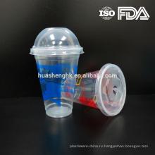 Высококачественные пищевые прозрачные пластиковые одноразовые 12 унц. / 360мл чашки смузи с крышками для оптовой продажи