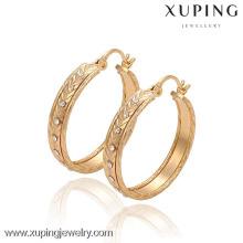 29583 Xuping Fashion Big Hoop Earring, 18 K oro plateado pendiente del diamante