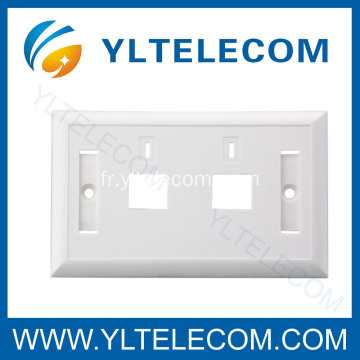 Mur Face plaque RJ45 double Port 70 * 115MM à 2 voies