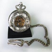 Reloj de bolsillo para mujer de moda con colgante plateado