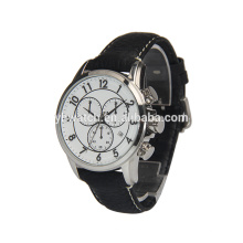 stainless steel case genuine leather strap chronograph current men watches